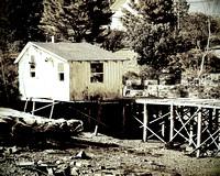 Fishing Shack Maine Sepia Black & White