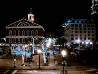 Faneuil Hall Boston at Night during Xmas